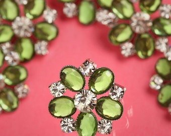 6 - Green Acrylic and Glass Buttons, Rhinestone Shank Buttons, 24mm (R6-118)