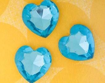 Jumbo 27MM Sapphire Blue Heart Acrylic Cabochons, Heart Cabochons, 27mm (R4-140)