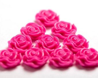 Fuchsia Flower Cabochons, Flower Cabs, Rose Shaped, Flat Back Flowers, Flatbacks, Embellishments, Glue On Decorations, 13mm (R1-042)