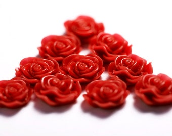 Red Flower Cabochons, Flower Cabs, Rose Shaped, Flat Back Flowers, Flatbacks, Embellishments, Glue On Decorations, 13mm (R1-045)