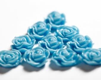 Baby Blue Flower Cabochons, Flat Back Embellishment, Rose Shaped, 13mm (R1-037)