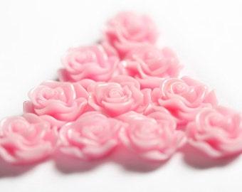 Pink Flower Cabochons, Flower Cabs, Rose Cabochons, Flower Flat Backs, Rose Flat Back deco, Rose Shaped, Glue On Flowers, 13mm (R1-047)