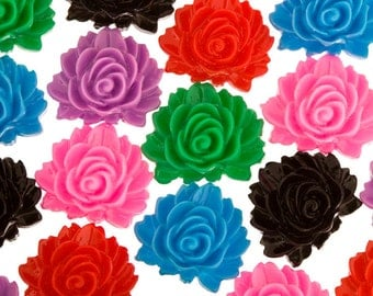 12 - Mixed Colors Fancy Rose Resin Flatback Cabochons, Flower Shaped, 16MM  x  12MM