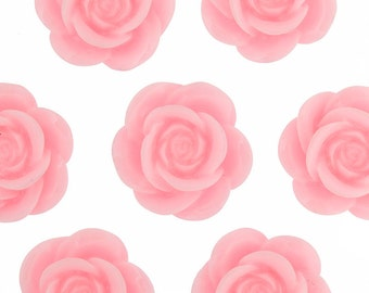 Large Baby Pink Flower Cabochons, Flower Cabs, Flower Shaped, 18mm (R8-031,C2-09) - Sold in Packs of 10, 20, or 30 Pieces
