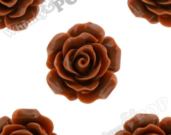 Large Detailed Chocolate Brown Rose Deco Resin Cabochons, Flower Shaped, 20mm Rose Cabochons, 20mm x 9mm (R1-016)