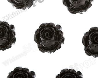 Vintage Deco Black Rose Bud Resin Cabochons, Flower Cabochons, Flower Cabs, Rose Cabochons, Flatbacks, Glue On Flowers, 15mm (R1-103)