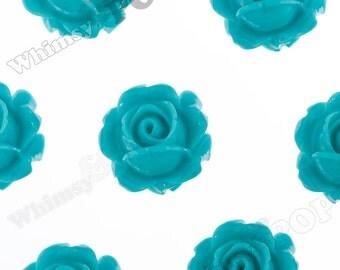 Vintage Deco Teal Green Rose Bud Resin Cabochons, Flower Cabochons, Rose Cabochons, Flat Back Embellishment, 15mm x 8mm (R1-099)
