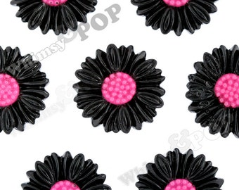 6 - Large Deco Black Daisy Sunflower Resin Cabochons, Daisy Cabochons, 27mm (R6-039)