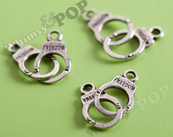 Antiqued Silvertone Handcuff Charms, Silver Handcuffs, Tiny Handcuff Charms, Handcuff Pendant, Police Charms (R5-222)