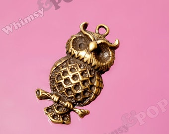 Antique Bronze Owl Charm Pendant, Owl Charm, Owl Pendant, Owl Finding, Bird Charms, 41mm x 21mm (1-6D)