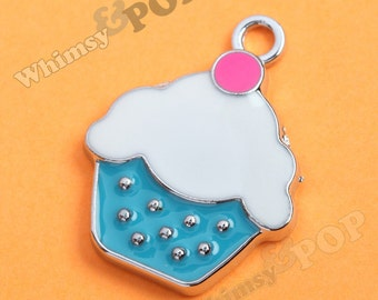 1 - Blue Cupcake Enamel Kawaii Foodie Charm, Cupcake Charm, 19mm x 20mm (1-3I)