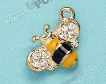 1 - Busy Honey Bee Gold Tone Crystal Rhinestone Charm, Bee Charm, Bumble Bee Charm, Bug Charm 18mm x 15mm (4-2B)