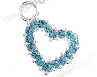 1 - Blue is Love Heart Rhinestone Charm (4-3H)