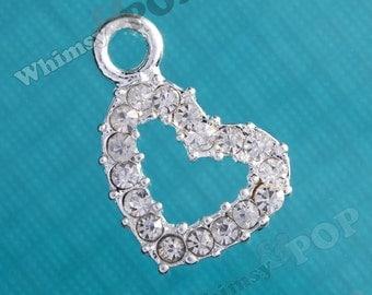 Clear Diamante Diamond is Love Heart Rhinestone Charm, Heart Charm, Rhinestone Heart, Heart Pendant (R9-027)