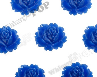Royal Blue Peony Flower Cabochons, Flower Cabs, Vintage Peony, Orchid Cabochons, 18mm x 16mm (R3-020)