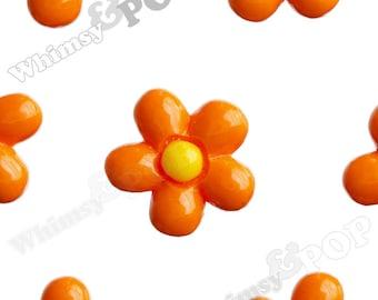 13mm - Mandarine Orange Baby Daisy Flower Cabochons, Daisy Shaped, Daisy Cabochons, Daisy Flatbacks, 13mm x 4mm (R1-154)