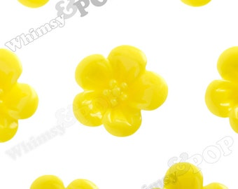Yellow Hibiscus Flower Cabochons, Hibiscus Cabochon, Flower Shaped, 13mm x 5mm (R2-041)