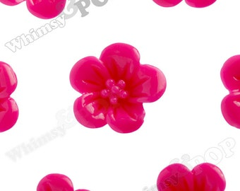 Hot Pink Fuchsia Hibiscus Flower Cabochons, Flower Cabs, Flat Back Embellishment, Hibiscus Cabochon, Flower Shaped, 13mm x 5mm (R2-046)