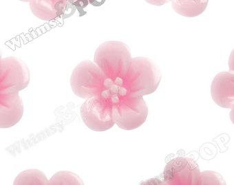 Light Pink Hibiscus Flower Cabochons, Flower Cabs, Hibiscus Cabochon, Flower Shaped, 13mm x 5mm (R2-050)