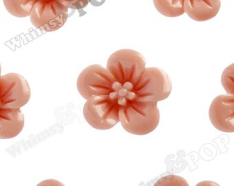 Coral Hibiscus Flower Cabochons, Flower Cabs, Hibiscus Cabochon, Flower Shaped, 13mm x 5mm (R2-041)