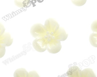 Yellow Ivory Hibiscus Flower Cabochons, Flower Cabs, Hibiscus Cabochon, Flower Shaped, 13mm x 5mm (R2-048)