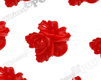 16mm - Red Fancy Textured Flower Bouquet Resin Flatback Cabochons, Flower Cluster Cabochons, Rose Bouquet, Flat Back Cabs  (R2-014)