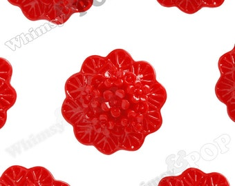 10 - Red Round Flower Cameo Resin Cabochons,  Flower Cabochons, Flower Cabs, Flower Bunch, Flower Bouquet, Flower Shaped, 20mm (R2-070)