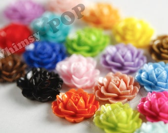 Mixed Colors Cabbage Rose Cabochons, Flower Cabochons, Flower Shaped, Flatback Flowers, Flat Back Cabochons, 18mm x 16mm (R3-003)