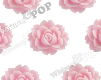 PInk Cabbage Rose Cabochons, Flower Cabochons, Flower Shaped, Flatback Flowers, Flat Back Cabochons, 18mm x 16mm (R3-018)