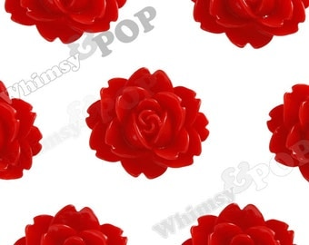 Red Cabbage Rose Cabochons, Flower Cabochons, Flower Shaped, Flatback Flowers, Flat Back Cabochons, 18mm x 16mm (R3-013)