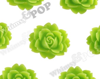 Green Apple Cabbage Rose Cabochons, Flower Cabochons, Flower Shaped, Flatback Flowers, Flat Back Cabochons, 18mm x 16mm (R3-004)