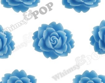 Blue Cabbage Rose Cabochons, Flower Cabochons, Flower Cabs, Flower Shaped, Flatback Flowers, Flat Back Cabochons, 18mm x 16mm (R3-008)