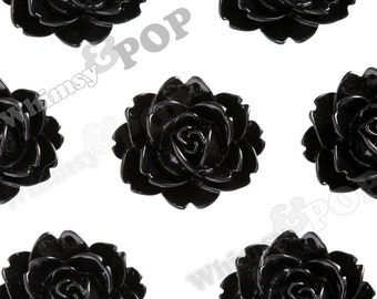 Black Cabbage Rose Cabochons, Flower Cabochons, Flower Cabs, Flower Shaped, Flatback Flowers, Flat Back Cabochons, 18mm x 16mm (R3-010)