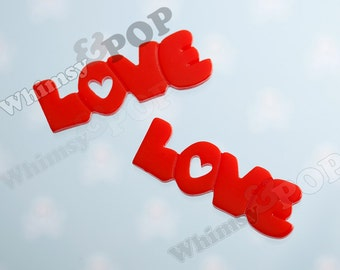 2 - Red Word Type LOVE Text Resin Cabochons , 38mm x 13mm (5-4B)