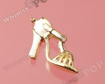 1 - 3D Crystal Rhinestone Sandal High Heel Goldtone Kawaii Charm (3-6E)