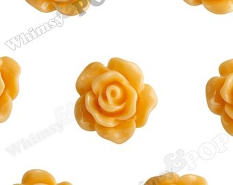 10mm - Sorbet Orange Small Detailed Flower Rose Resin Cabochons, Rose Shaped, 10mm Rose Cabochons, 10mm x 4mm (R1-078)