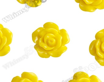 10mm - Lemon Yellow Small Detailed Flower Rose Resin Cabochons, Rose Shaped, 10mm Rose Cabochons, 10mm x 4mm (R1-081)