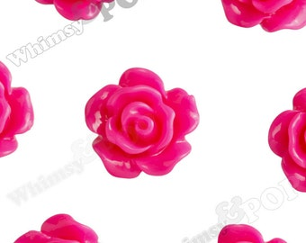 10mm - Fuchsia Pink Small Detailed Flower Rose Resin Cabochons, Rose Shaped, 10mm Rose Cabochons, 10mm x 4mm (R1-086)