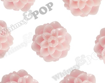 10mm - Pink Honeycomb Mum Tiny Flower Cabochons, Flower Cabs, Mum Shaped Flatbacks, Chrysanthemum Cabochons, 10mm x 10mm (R1-124)