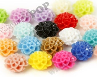 100 - Mini Honeycomb Dahlia Flowers, Mixed Colors Resin Cabochons, Mum Shaped, 10mm (R1-107)