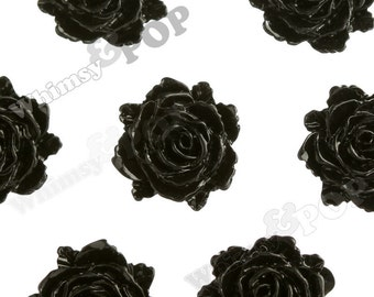 Black Bloomin' Rose Small Resin Cabochons, Rose Cabochons, Flower Cabochons, Flower Cabs, Flatback Roses, 12mm x 11mm (R2-004)