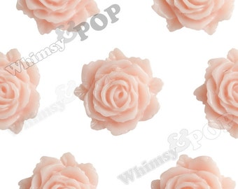 Shabby Chic Peach Bloomin' Rose Small Resin Cabochons, Rose Cabochons, Flower Cabochons, Flower Cabs, Flatback Roses, 12mm x 11mm (R2-024)