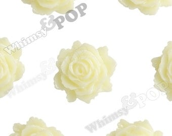 Cream White Bloomin' Rose Small Resin Cabochons, Rose Cabochons, Flower Cabochons, Flower Cabs, Flatback Roses, 12mm x 11mm (R2-006)