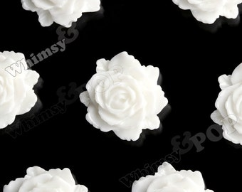 10 - White Bloomin' Rose Small Resin Cabochons, 12mm x 11mm (R2-004)