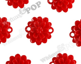 Cherry Red Small Dahlia Bead / Cabochons, Flower Cabochon, Flower Bead, Flower Connector, Resin, 14mm (R2-025)