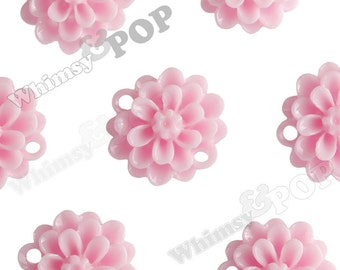 Pink Small Dahlia Bead / Cabochons, Flower Cabochon, Flower Bead, Flower Connector, Resin, 14mm (R2-034)