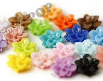 40 - Mixed Colors Lotus Flower Resin Cabochons, 12mm (R1-126)