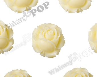 3 - Large Yellow Ivory Detailed Rose Bud Cabochons, Rose Cabochons, Flower Cabochons,  Flower Shaped, 26mm (R4-024)