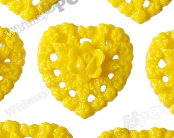 Lemon Yellow Rose Heart Flower Resin Cabochons, Heart Cabochons, Heart Shaped, 16mm (R2-073)