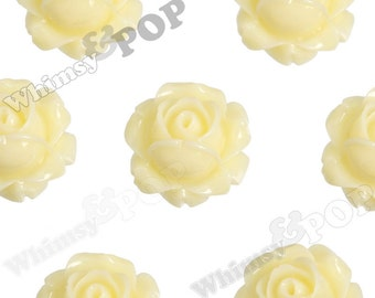Vintage Deco Ivory Yellow Rose Bud Resin Cabochons, Flower Cabochons, Flower Cabs, Rose Cabochons, Flatbacks, Glue On Flowers, 15mm (R1-102)
